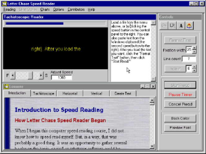 Letter Chase Speed Reader Screenshot