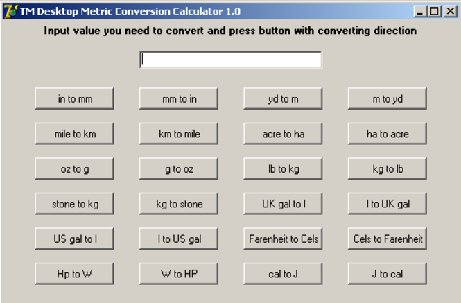 TM Desktop Metric Conversion Calculator Screenshot