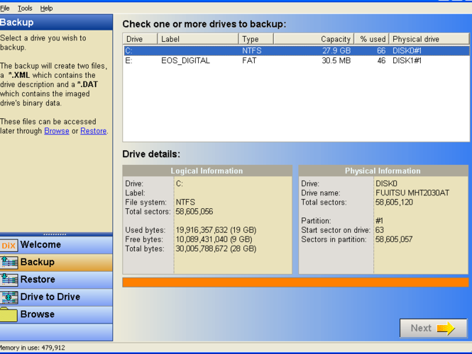 DriveImage XML Screenshot
