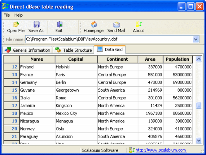 dBase viewer Screenshot 1