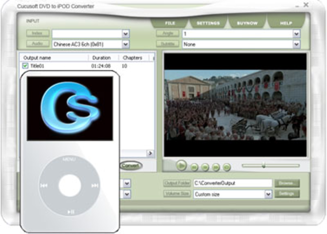 Cucusoft DVD to iPod Converter Screenshot 1