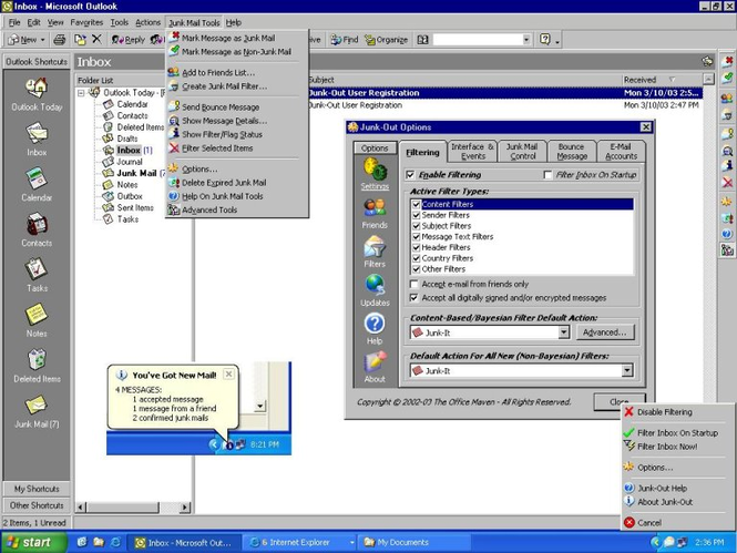 Junk-Out 2007 for Outlook 2007/2003 Screenshot 1