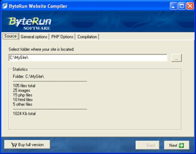 ByteRun Website Compiler Screenshot