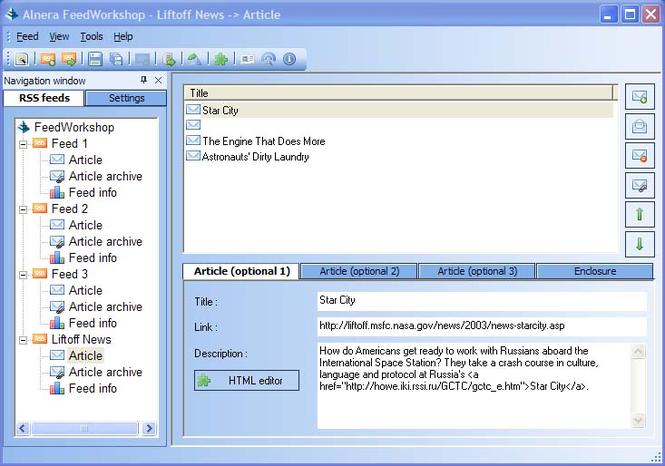 Alnera FeedWorkshop RSS Editor Screenshot