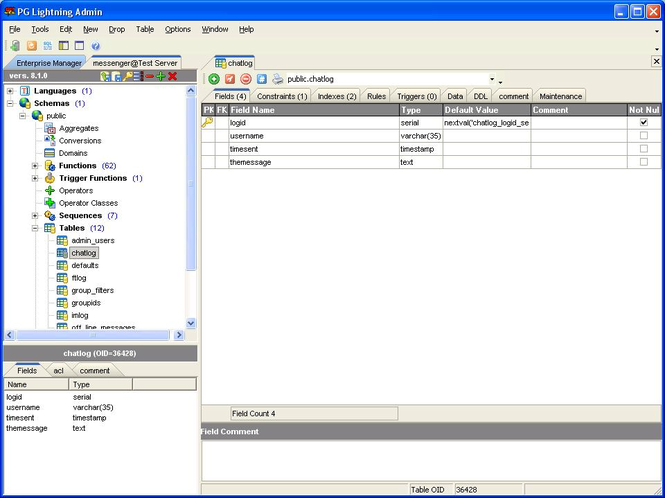 #1 Postgresql GUI PG Lightning Admin Screenshot