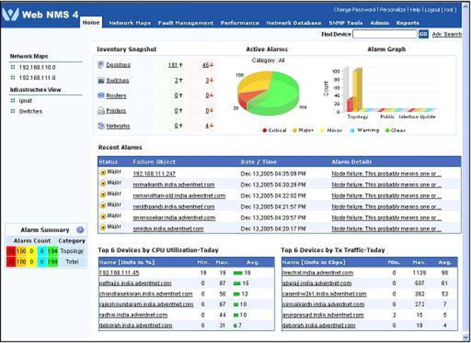 WebNMS Management Framework Express Edition Screenshot 1