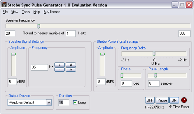 Strobe Sync Loudspeaker Test Software Screenshot
