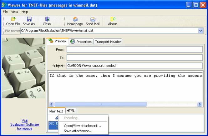 Winmail Opener Screenshot 1