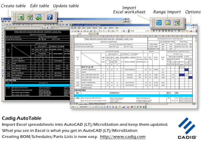 AutoCAD LT Excel- {Cadig AutoTable 3.x} Screenshot