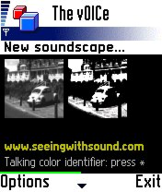 The vOICe MIDlet for Mobile Camera Phone Screenshot