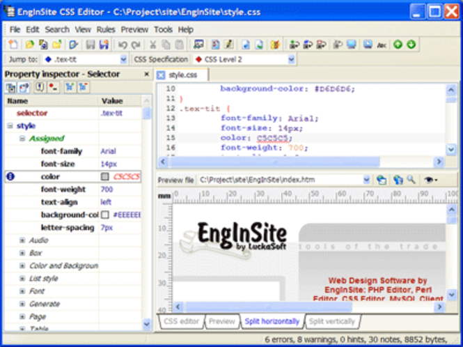 EngInSite CSS Editor Screenshot