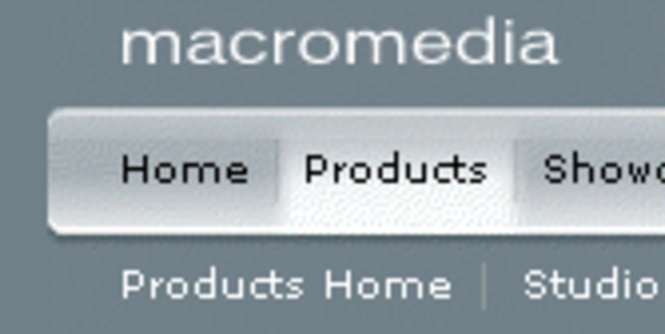 Macromedia style menu - Dreamweaver extension Screenshot