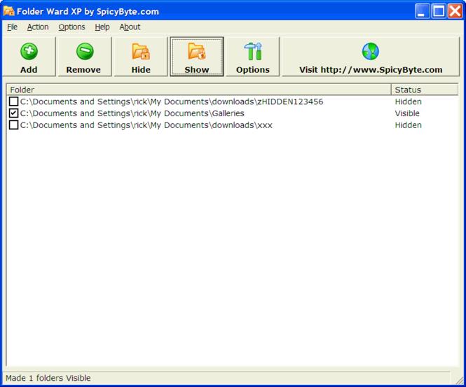 Folder Ward XP Screenshot