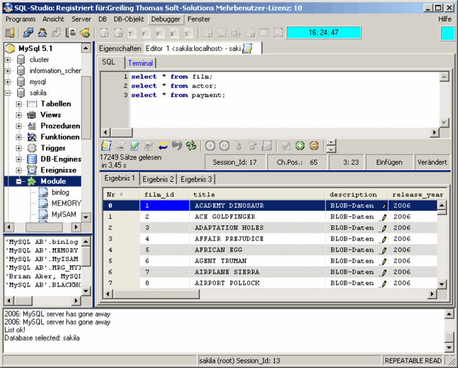 SQL-Studio (Informix-Studio) Screenshot 1