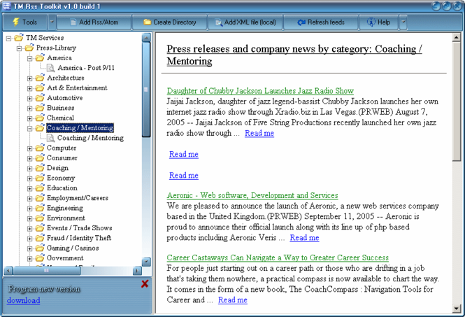 TM RSS Toolkit Screenshot