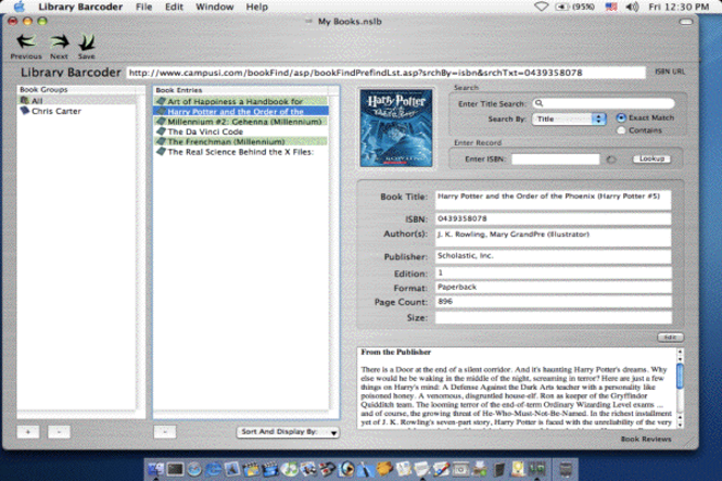 Library ISBN Barcoder Screenshot