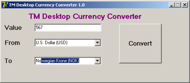 TM Desktop Currency Converter Screenshot