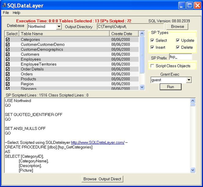 SQLDataLayer Screenshot