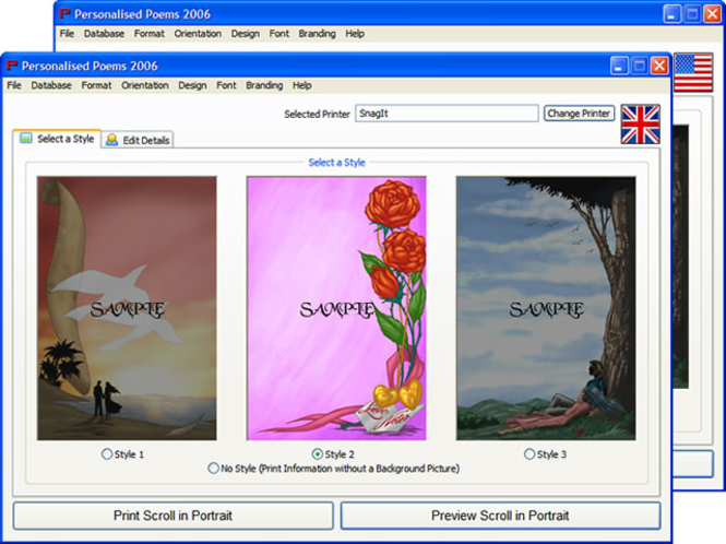Personalised Poems 2008 Screenshot