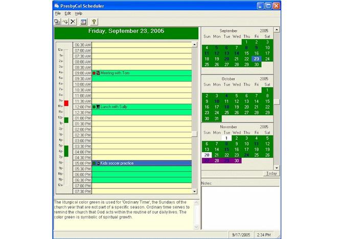 PresbyCal Desktop Calendar Screenshot