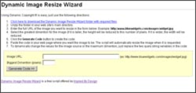 Dynamic Image Resize Wizard Screenshot