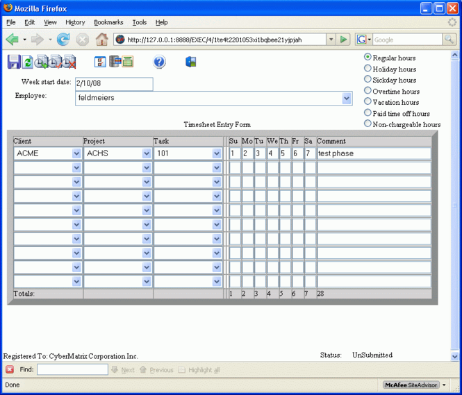 CyberMatrix Timesheets Web Enterprise Screenshot