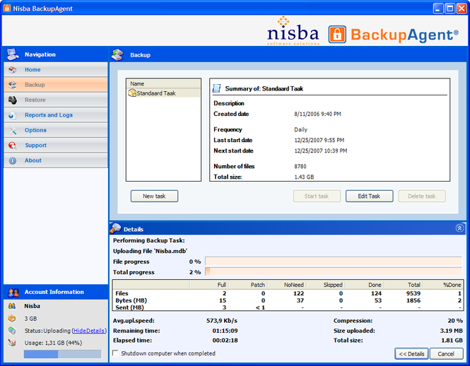 Nisba BackupAgent 25GB subscription Screenshot