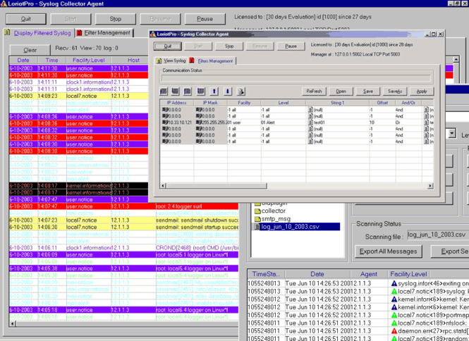 Syslog Collector Screenshot