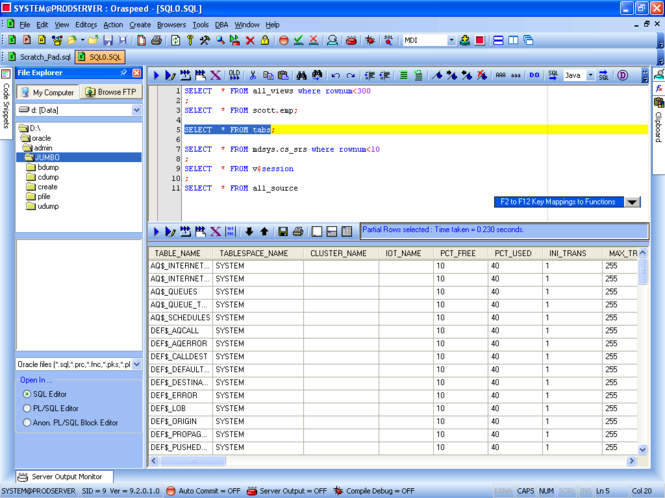 Oraspeed SQL Editor Screenshot