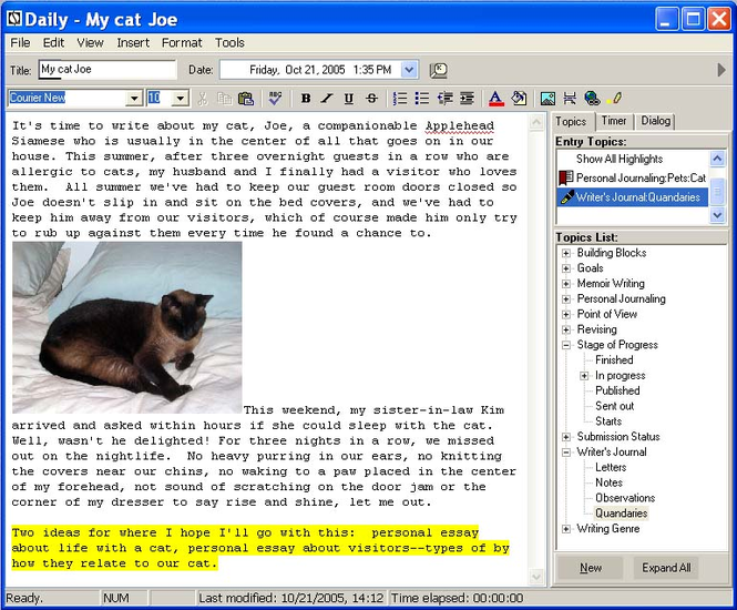 LifeJournal For Writers Screenshot 1