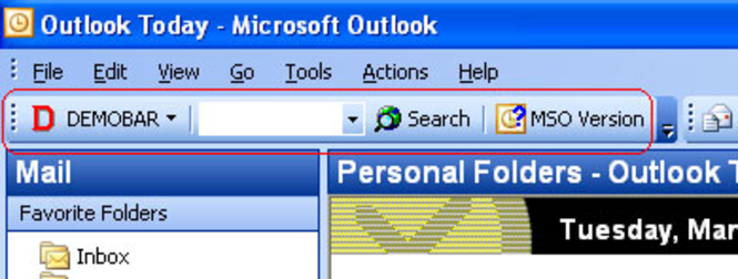 Demo toolbar for Microsoft Outlook (MSODemoToolbar). Screenshot