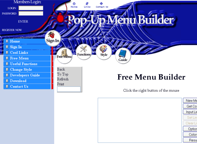 1-st Pop-Up Menu Builder Screenshot