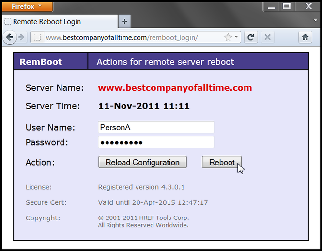 Remote Reboot Utility Screenshot