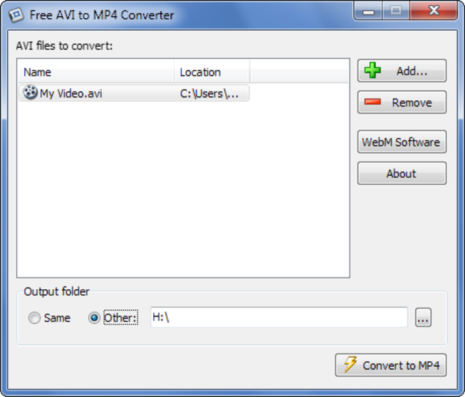 PolySoft Free AVI to MP4 Converter Screenshot