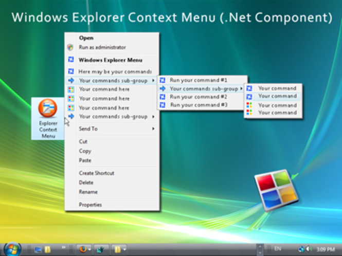 Windows Explorer Shell Context Menu Gold Screenshot