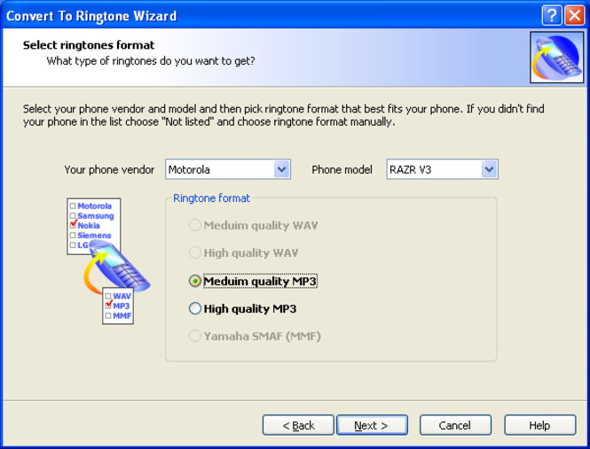 Convert to Ringtone Wizard Screenshot