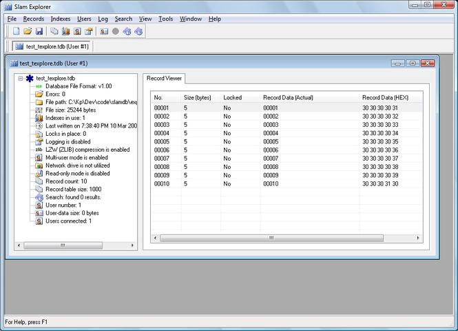 Slam Database Manager Screenshot
