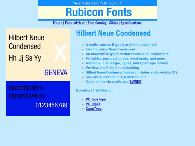 Hilbert Neue Condensed Font Type1 Screenshot