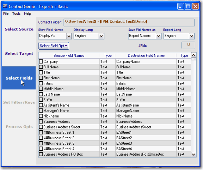 ContactGenie Exporter Basic Ed Screenshot