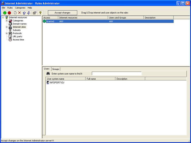 Internet Administrator Screenshot