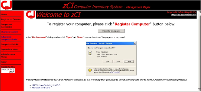zCI Computer Inventory System Screenshot