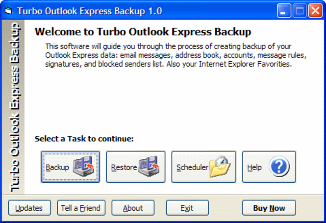 Turbo Outlook Express Backup Screenshot