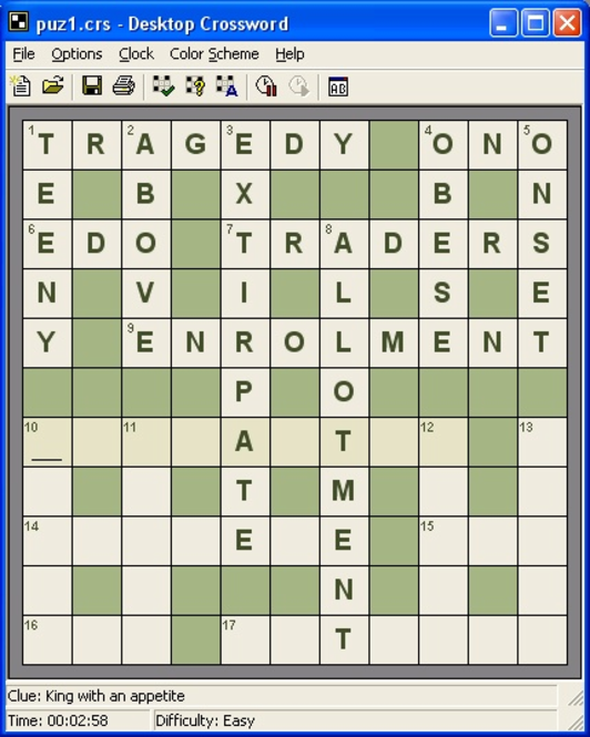 Desktop Crossword Screenshot 1