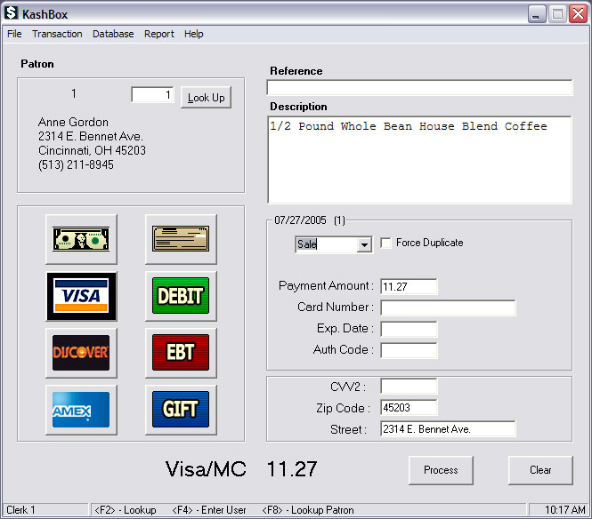 KashBox Payment Processing Software Screenshot