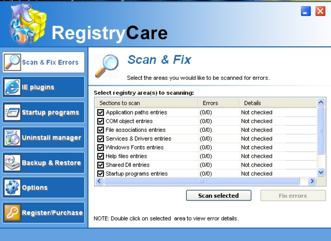 Registry Care Screenshot