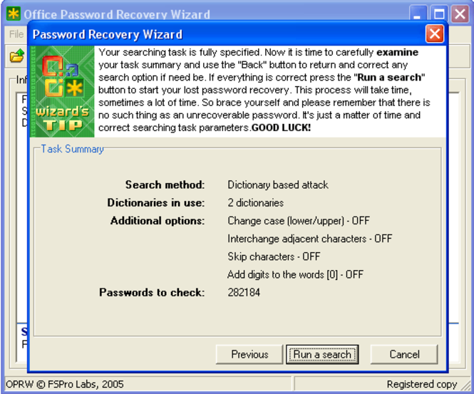 Office Password Recovery Wizard Screenshot 1