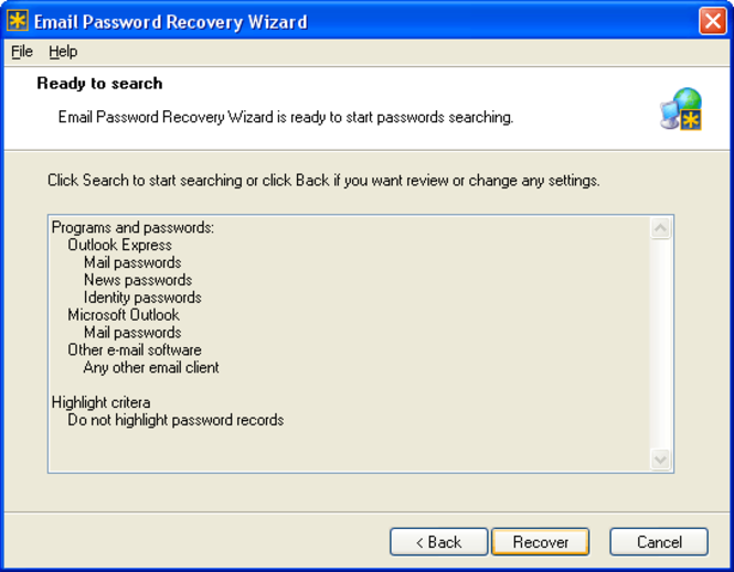 Email Password Recovery Wizard Screenshot 1