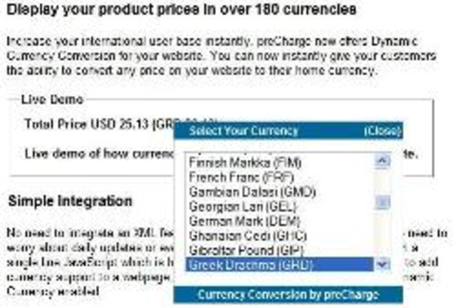 Dynamic Currency Conversion by preCharge Screenshot