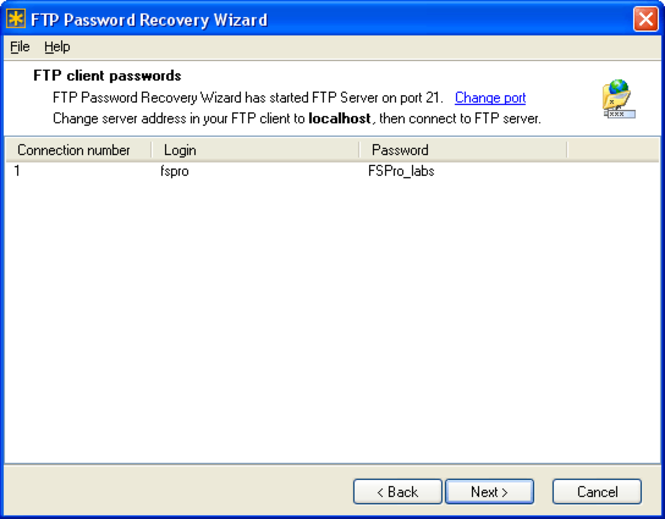 FTP Password Recovery Wizard Screenshot