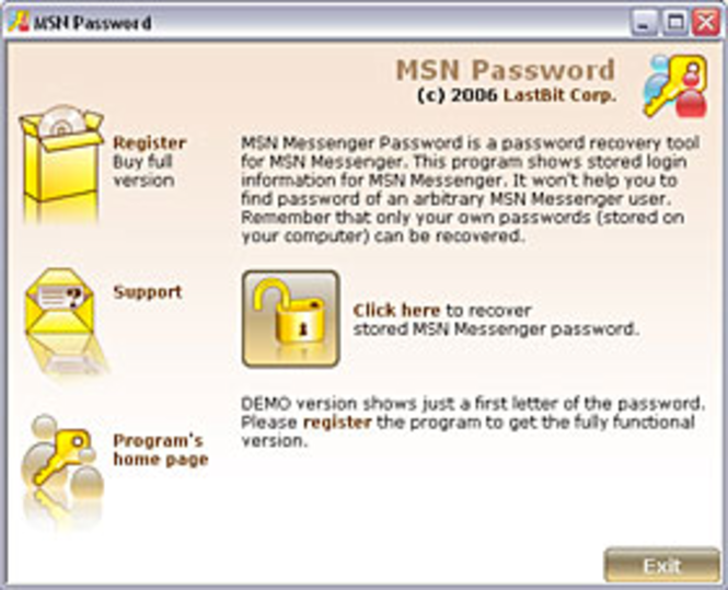 LastBit MSN Messenger Password Recovery Screenshot 1